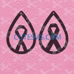 Awareness ribbon tear drop earrings SVG cut file