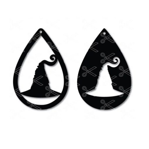 Halloween witch hat tear drop earrings svg and dxf cut file