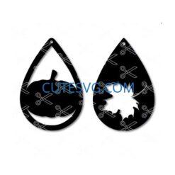 Pumpkin fall leaf tear drop earring template SVG and DXF Cut files