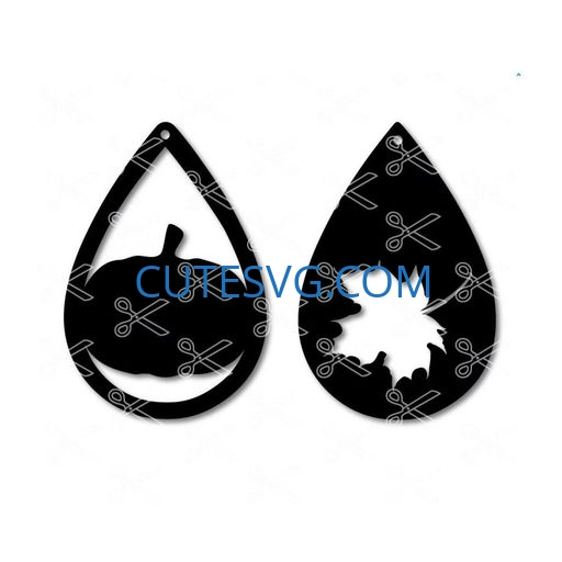 Pumpkin fall leaf tear drop earring template SVG and DXF Cut files