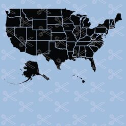 USA map states SVG and DXF cut files