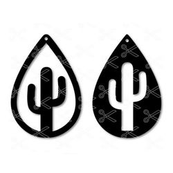 Cactus Tear Drop Earrings SVG Cut File