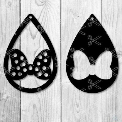 Disney Minnie bow Tear Drop Earrings SVG and DXF Cut files