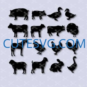 Farm animals – horse, pig, cow, chicken, turkey, sheep SVG and DXF Cut files