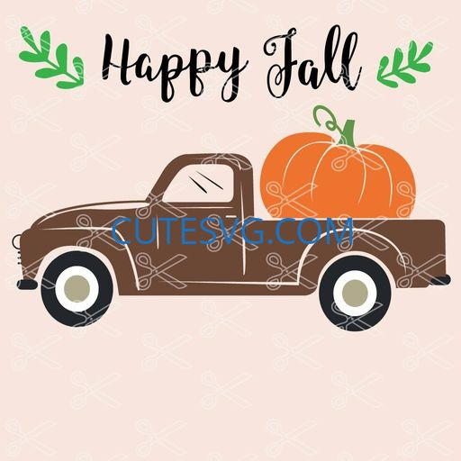 Happy Fall Truck With Pumpkin Svg And Dxf Cut File Cute Svg Files