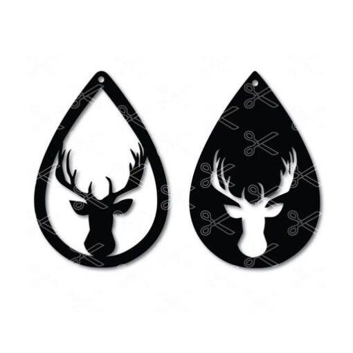 Reindeer Christmas Tear Drop Earrings Deer SVG and DXF Cut files