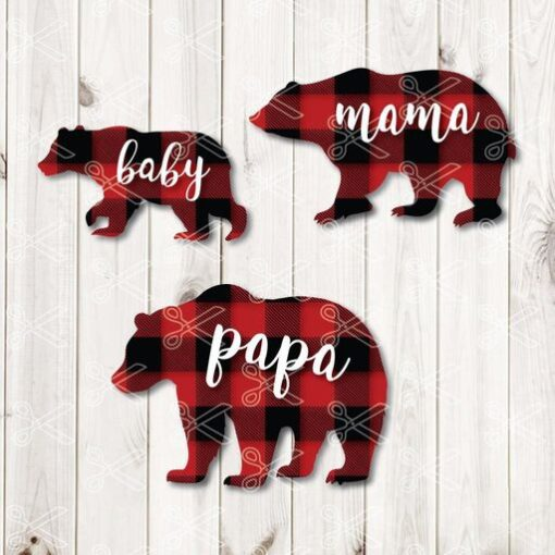 Download Buffalo Plaid Bear Family SVG and DXF Cut files and use it to your DIY project!