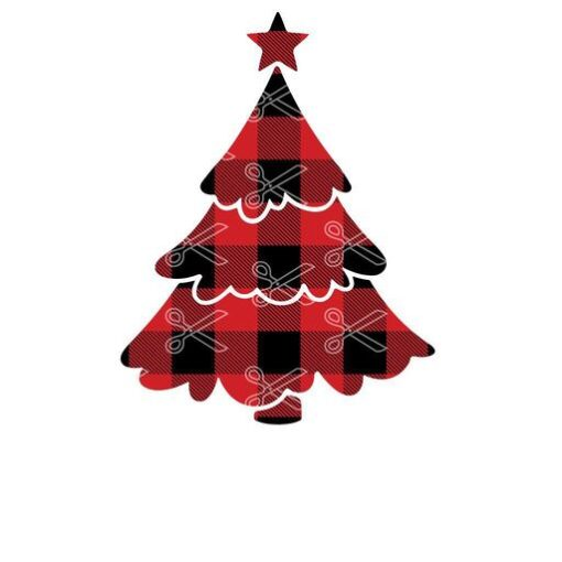 Christmas tree plaid svg and dxf cut files