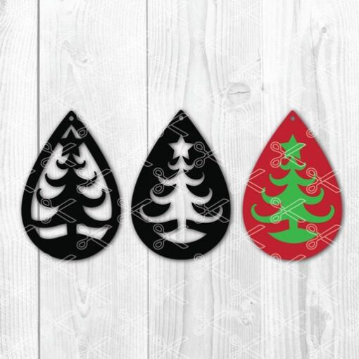 Christmas tree star tear drop earrings SVG and DXF Cut files