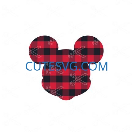 Download Disney Mickey Mouse Head Plaid SVG and DXF Cut files and use it to your DIY project!