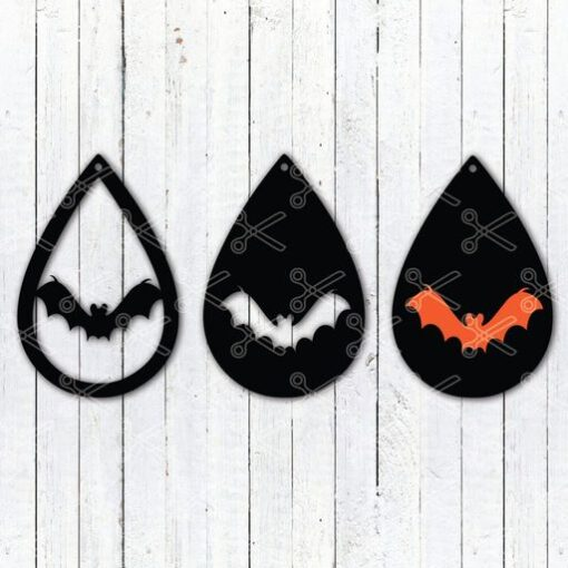 Download Halloween Bat Tear Drop Earrings SVG and DXF Cut files and use it to your DIY project!