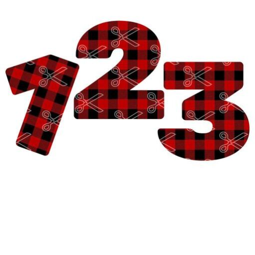 Plaid numbers 1 to 10 SVG and DXF Cut files