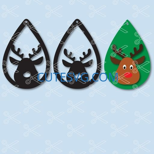 Download Christmas Reindeer Tear Drop Earrings SVG and DXF Cut files