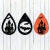 halloween Haunted house tear drop earrings svg and dxf cut files