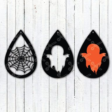 Download Halloween Ghost Tear Drop Earrings SVG and DXF Cut files and use it to your DIY project!