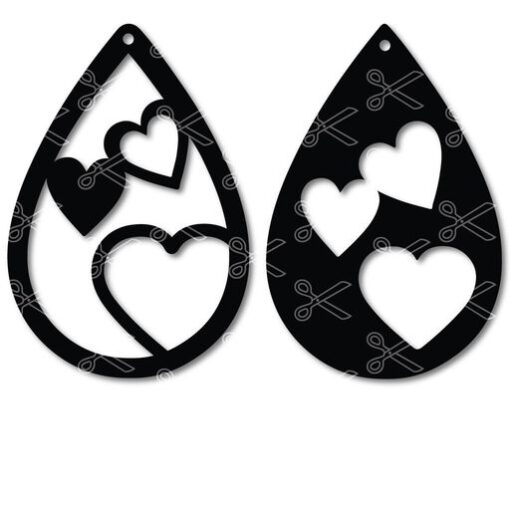 Download Heart Tear Drop Earrings SVG and DXF and use it to your DIY project!