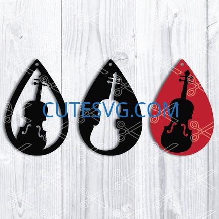 music violin tear drop earrings svg and dxf cut files