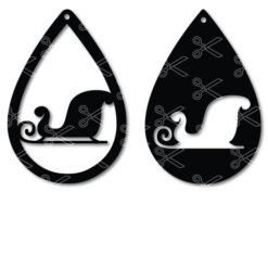 Download Santa Sleighs Christmas time Tear Drop Earrings SVG and DXF Cut files and use it to your DIY project!