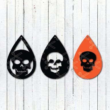 Download Scull Halloween Tear Drop Earrings SVG and DXF Cut files and use it to your DIY project!
