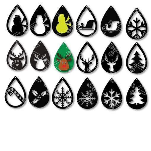winter tear drop earrings bundle 18pcs SCG and DXF cut files