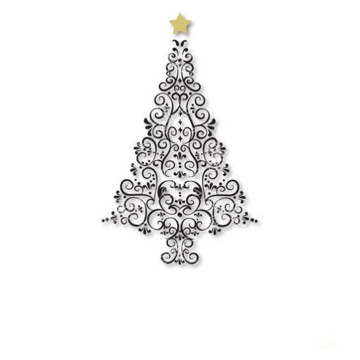 christmas tree elegant swirl SVG and DXF cut files