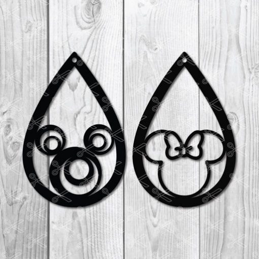 mickey minnie teardrop earrings svg