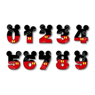 Mickey Mouse Numbers Svg