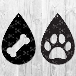 Paw Print TearDrop Earring SVG