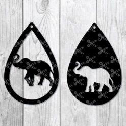elephant teardrop earring svg
