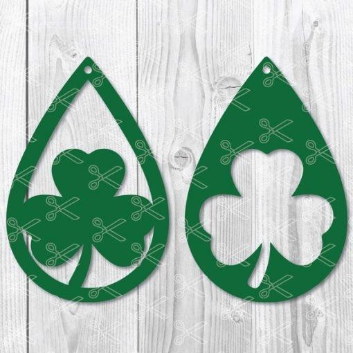Shamrock St. Patricks Day Teardrop Earring SVG file
