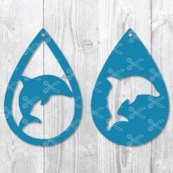 Dolphin Teardrop Earring SVG