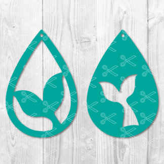 Mermaid Teardrop Earring SVG Cut File