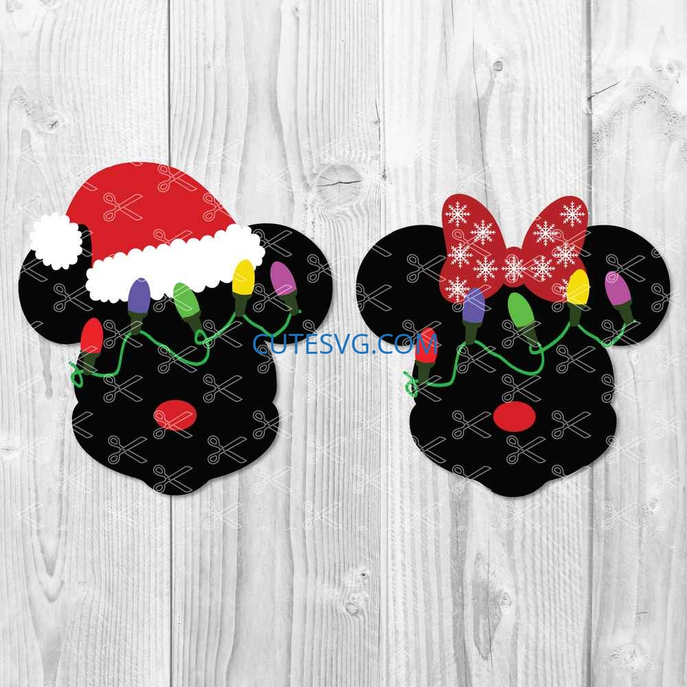 2 Disney Christmas xmas Mickey Minnie Mouse vector cut Cricut svg png pdf dxf eps ai DIGITAL picture Silhouette download printable Clipart