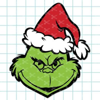 Grinch Face Christmas SVG