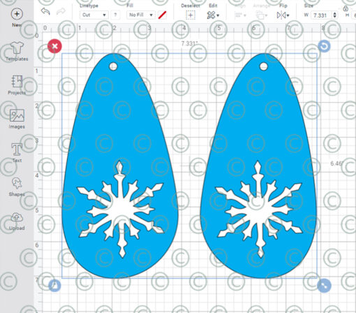 tear drop snowflake earrings SVG PNG