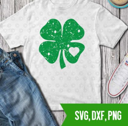 Distressed shamrock heart cutfile St Patrick's day SVG PNG DXF Cutfile