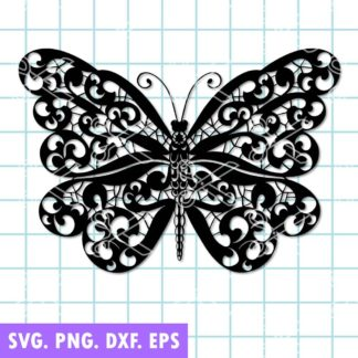 Mandala Butterfly SVG Zentangle