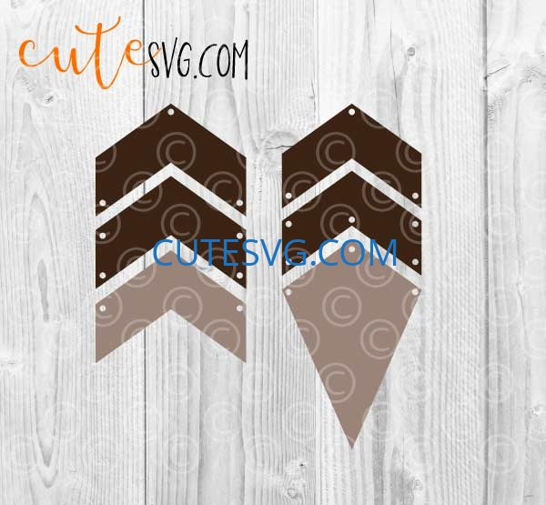 Leather Geometric Dangle Earrings Templates SVG, DXf, PNG