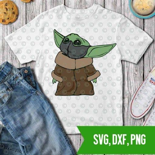 Baby Yoda Mandalorian Quarantine Mask SVG DXF PNG Cut files