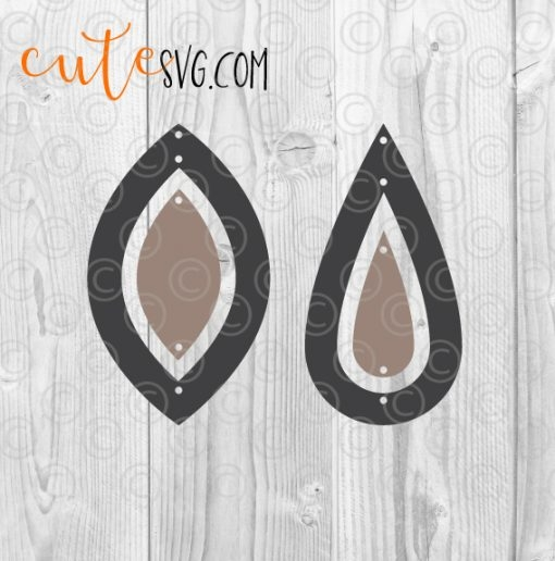 Geometric dangle faux leather earring templates SVG DXF PNG Cutting files
