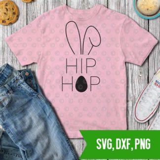 Hip Hop Bunny Easter Bunny Ears T shirt stencil SVg DXF PNG Cut files