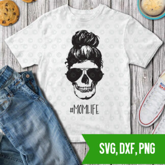 Momlife- skull svg dxf png cut files