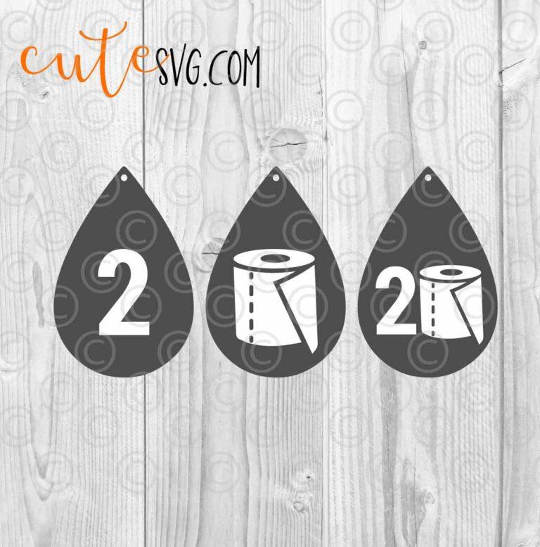 Quarantine 2020 Toilet paper Earrings Template SVG DXF PNG Cut files