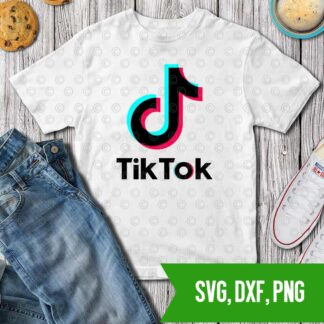 TikTok logo SVG DXF PNG Cut files