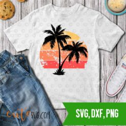 Beach summer sunset distressed palm trees svg dxf png cut files