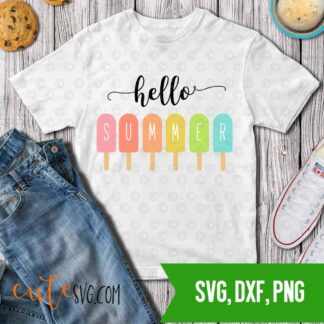 Hello summer ice cream SVG DXF PNG Cut files