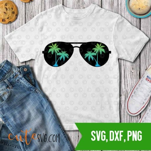 Summer Palm sunglases svg dxf png cut files Cutesvg.com