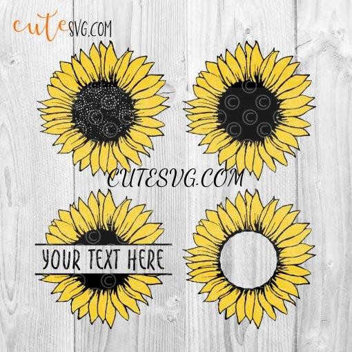 Sunflower-bundle-sunflower-monogram-splitted-svg-dxf-png-cut-file
