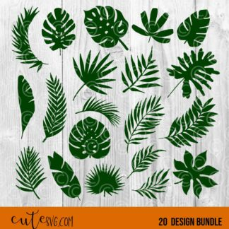 Tropical palm leaves 20 designs bundle SVG DXF PNG Cut files