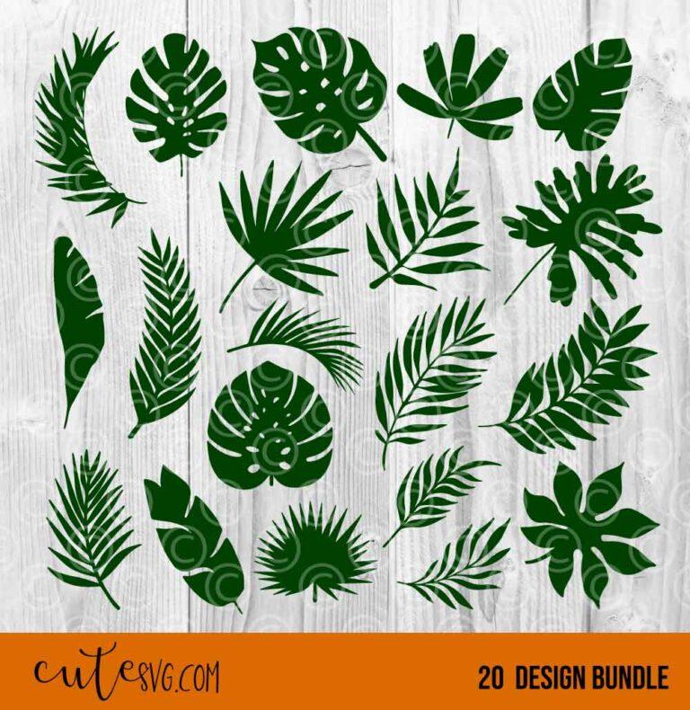 Tropical palm leaves 20 designs bundle SVG DXF PNG Cut files